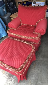 red and brown fabric sofa chair Waterloo, N2V 2S7