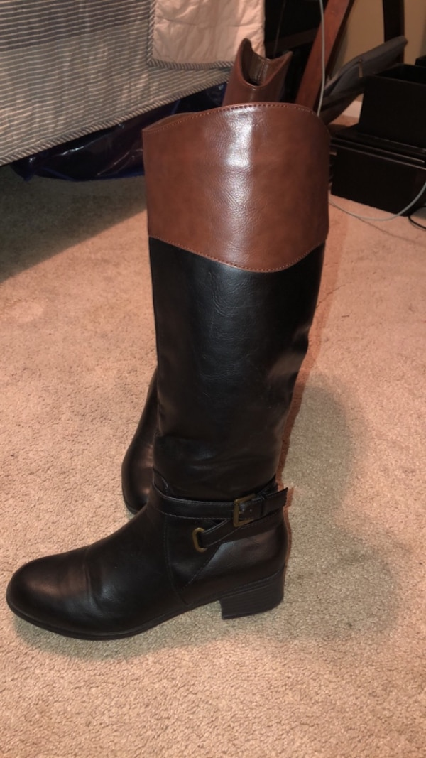 Women 2-tone wide calf boots size 8.5 1