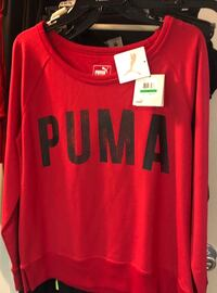 Puma sweatshirts one red one grey with black letters