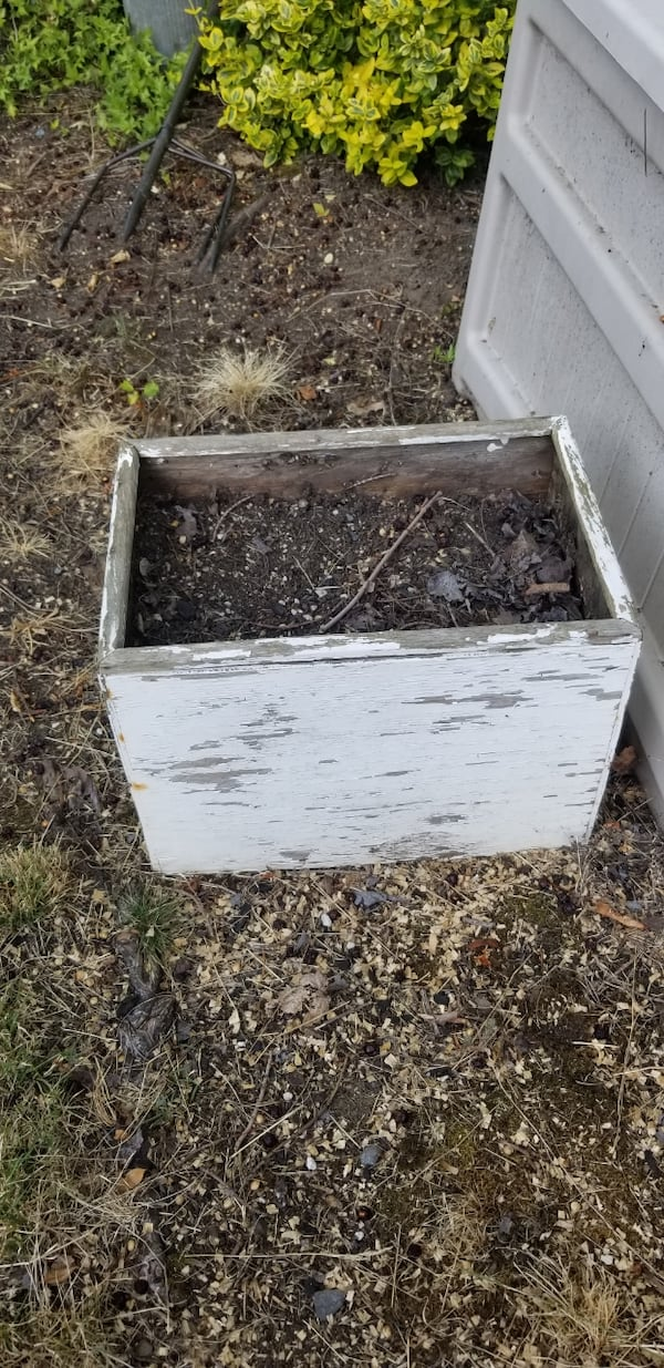 Old wooden planter 6f2057c6-5877-4901-86fe-74b57f6ff035