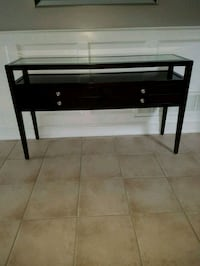 Wood and glass console table Vaughan, L4H