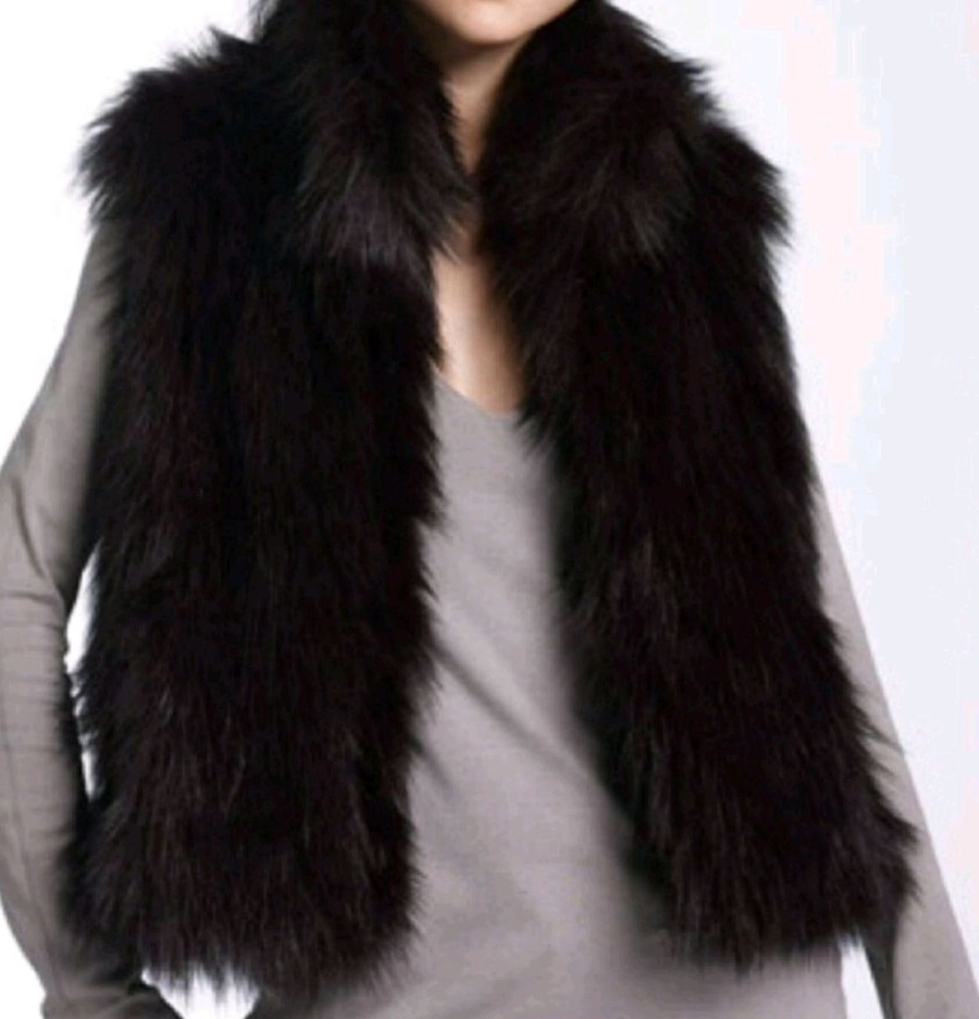 Used, black fur fur zip-up fur vest for sale  Bellevue