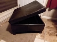 """Leather ottoman with storage, 28"""" square Navarre"""