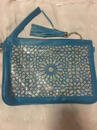 blue and white leather tote bag 214 mi