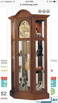 Working Brown wooden & glass curio cabinet grandfather clock $550