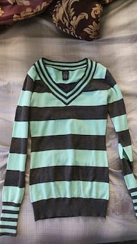green and black striped sweater Price, 84501