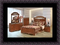 11pc Ashley cherry bedroom set with mattress College Park