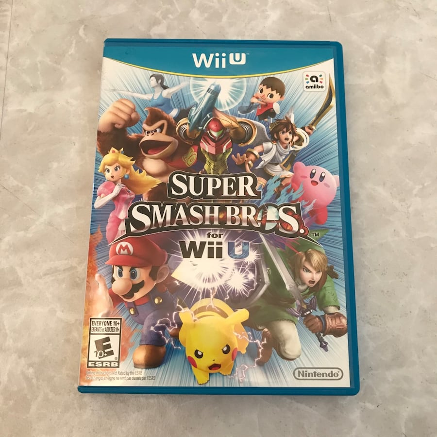 Super Smash Bros for Wii U nintendo video game with case mario