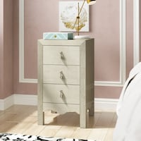 NEW Champagne gold Textured 3 Drawer Nightstand Chest MIAMI