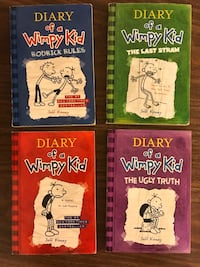 Diary of a Wimpy Kid Books. All 4 for $10. Paperback copies - great condition  Richmond, V6Y