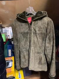 Esprit womans' suede leather coat with hood.