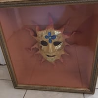 Hand painted Mardi Gras mask, professionally hung in a shadow box. Toronto, M4G 3E1