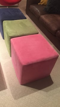 Pink, blue and green fabric stool 25 each North Vancouver, V7R 3W8