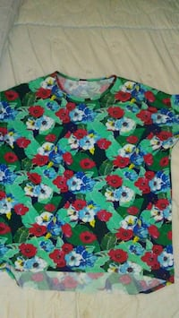 blue, red, and green floral shirt Zebulon, 27597