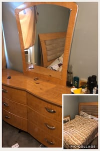 Brown wooden dresser with mirror and Bed frame  Taylor, 48180