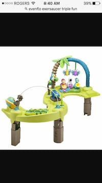 green and brown plastic Evenflo exersaucer triple  Barrie, L4N 8V5