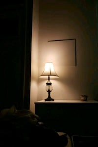 brown wooden table lamp with white lampshade Baltimore, 21224