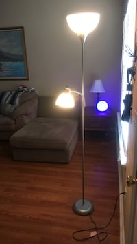 gray metal torchiere floor lamp with task light
