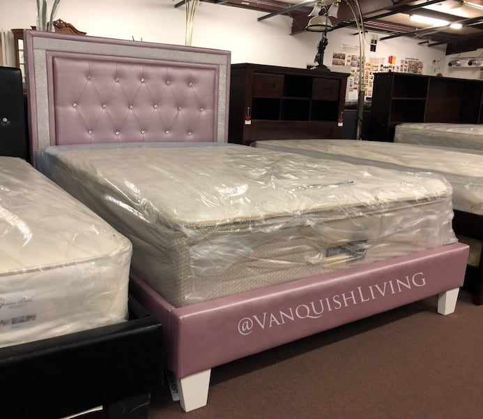 Used Pink Diamond Tufted Headboard And