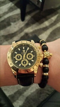 Gold watch luxury automatic with bracelet