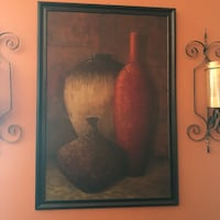 brown wooden framed painting of two vases Cumming, 30040
