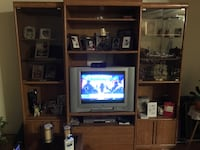 3 pc brown wooden tv hutch