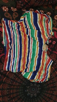 multicolored striped scoop neck shirt
