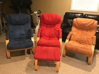 Blue, red and tan armchairs. Perfect for a family room or the basement rec. room! Leesburg, 20176