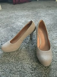 pair of beige leather platform stilettos Circle Pines, 55014