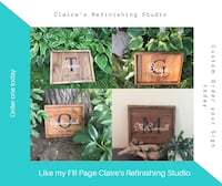 brown wooden Claire's Refinishing Studio collage photo