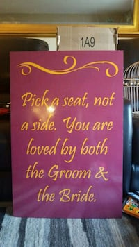 Burgundy and gold wedding sign  6 mi
