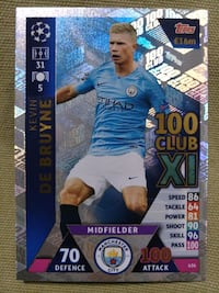 Match Attax UCL Kevin De Bruyne 100 Club Card Singapore, 680615