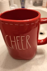 New Rae Dunn Red Cheer Mug with Stitching Detail Oakville