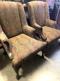 Pair of Fairfield Unique Wingback Chairs