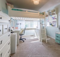 Pottery Barn Teen loft bed with built in vanity with mirror, book shelves and desk Arlington Heights