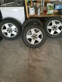 four gray 5-spoke car wheels with tires Calgary, T3K 4L7