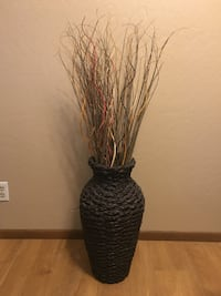 Tall Decor Straw Vase With Sticks