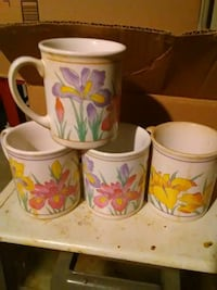 four white and yellow floral ceramic mugs Richmond, 23222