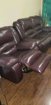 Italian leather love seat and chair