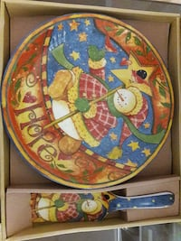 Snowman Cake Plate with Cake/Pie Cutter/Server