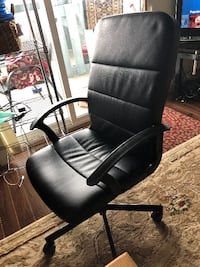 black leather office rolling armchair ABBOTSFORD