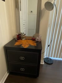 Dark brown nightstand / side table, with 2 drawers