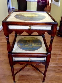 Theodore Alexander 2 drawer side table in cherry and brass Haymarket