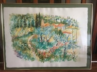 Original double side watercolor paintings Okanagan Lake-Blue diamond 科奎特兰