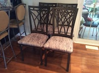 Four dark charcoal metal framed dining chairs newly recovered in shades of grey. Beautiful! Ancaster, L9G 2A3