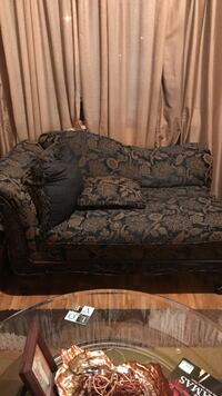 Brown and black floral chaise lounge