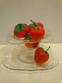 Vintage Glass Pedestal Bowl and Plate with Strawberries