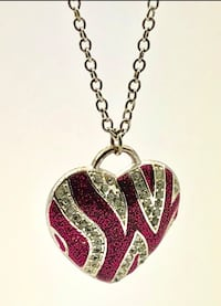 Silver coloured hot pink zebra stripes with white gems adjustable necklace Brampton, L6R 1X5