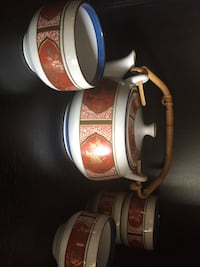white, red and blue ceramic tea set Laval, H7W 4S8