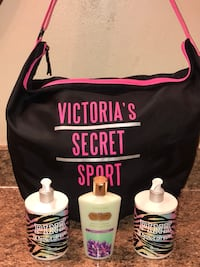 NEW VICTORIA SECRET PINK DUFFEL AND LOTIONS